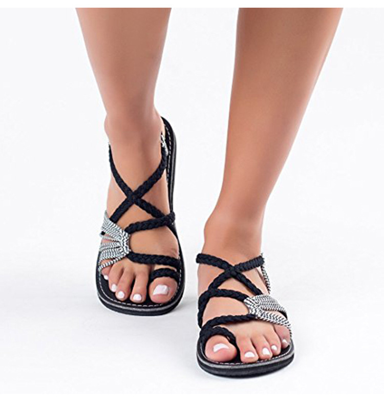 2019 Women Sandals Flat Casual Fashion Gladiator Sandals Summer Shoes Female Flat Sandals Rome Cross Tied Sandals Shoes #hot