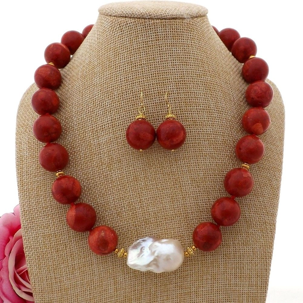 20 18mm Red Coral White Keshi Pearl Necklace Earrings Set20 18mm Red Coral White Keshi Pearl Necklace Earrings Set