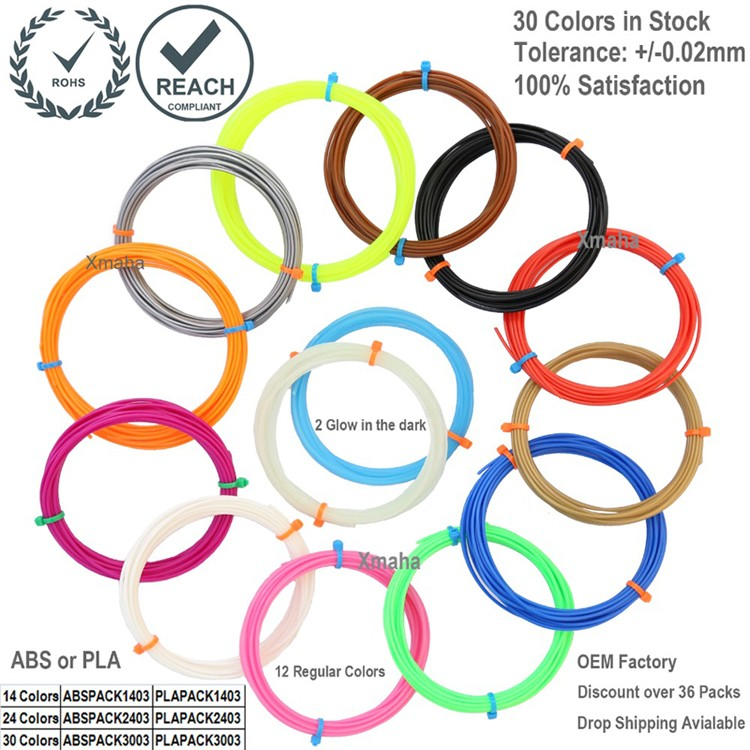 3d pen filament pack in 14 colors including 2 Glow in the Dark 1 75mm PLA