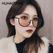 HUHAITANG Luxury Half Frame Sunglasses Women Oversized Outdoor Round Sun Glasses Womens 2019 Brand Designer Sunglass For Ladies