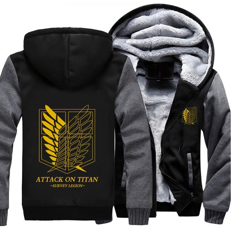 Wholesale US Size Anime Shingeki no Kyojin Survey Legion Surve Winter Women Men Hoodie Zip Jacket Casual Sweatshirts Sportwear
