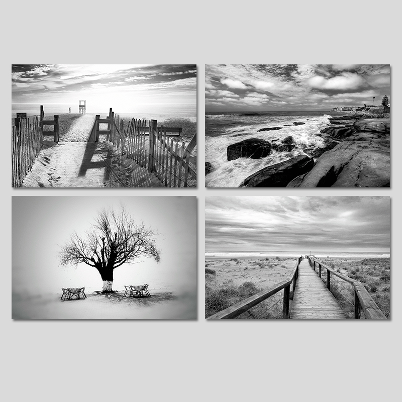 Black and white trees seascape landscape road decoration for Black and white tree mural