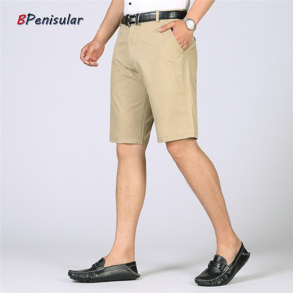 Men Casual Shorts 2018 Summer High Quality Cotton Fitness Plus Size Solid Khaki Shorts for Men Businessmen Short Trousers