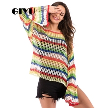 GIYU Drop Shoulder Rainbow Sweater Hole Long Flare Sleeve Patchwork Loose Sweaters Female Pullover sueter mujer invierno 2019