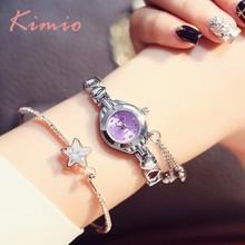 hot deal buy kimio simple small womens watch love shape bracelet watch women luxury quartz womens watches top brand female wristwatch clock