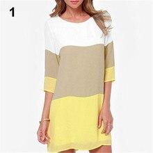 Демисезонный Женская Повседневная шею 3/4 рукав партии лоскутное Цвет Короткие мини-платье