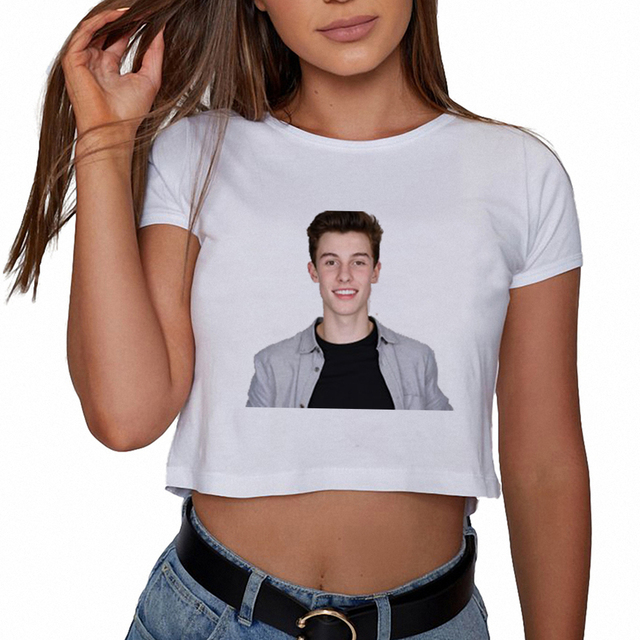 0847b073 Shawn Mendes Women T Shirt Summer White Cool Printed Graphic Cropped Tee  Shirts Youth Women Fans Tops