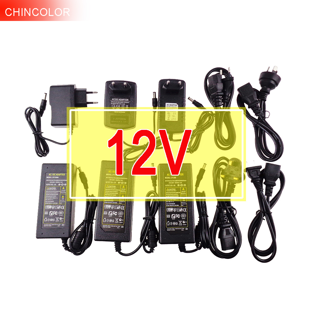 12V Power supply for led strip EU/US/UK/AU adapter AC110-220V to DC12V 1A 2A 3A 4A 5A 6A 10A cord 4 options plug transformer IQ