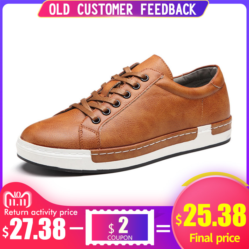 купить BIMUDUIYU Autumn New Casual Shoes Mens Leather Flats Lace-Up Shoes Simple Stylish Male Shoes Large Sizes Oxford Shoes For Men по цене 1906.65 рублей