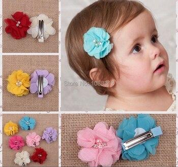 Free shipping 20pcs kids girl chiffon floral hair pin.6CM pearl rhinestone core chiffon flower decoration baby girls hair clips.