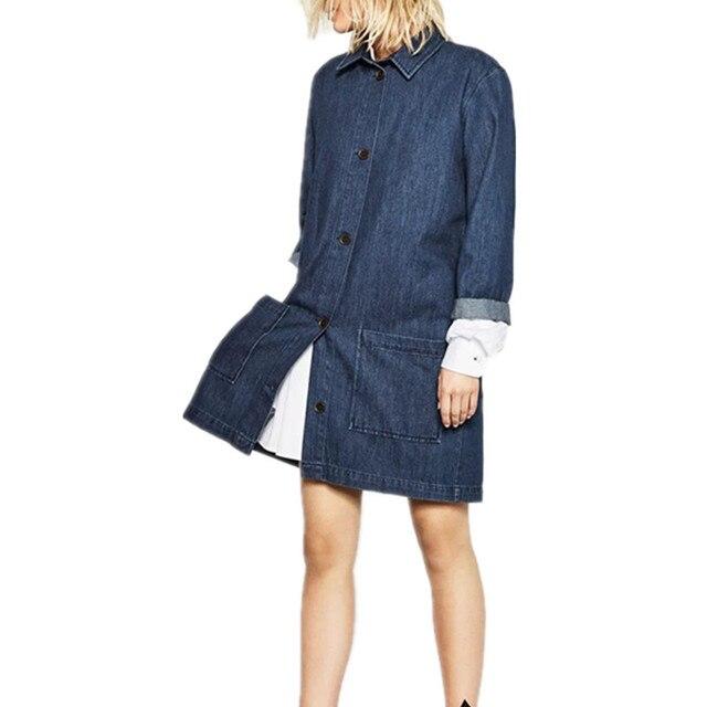 Европа Зима Новый Джинсовой Пальто С Длинными Рукавами Нагрудные Мода Однобортный Широкий талией Джинсовые Пальто Xdl225