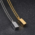 Popular Style Hiphop Supreme Stainless Steel Square Necklace Pendant Jewelry for Men Dance Charm  Chain Necklace