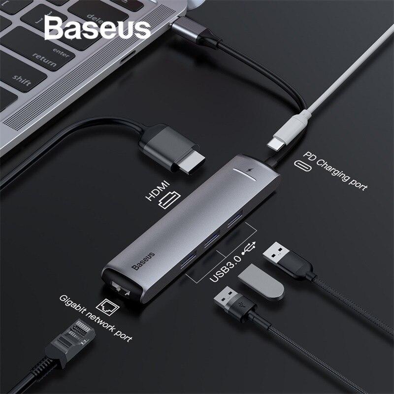 Baseus 6in1 HUB Adaptateur USB Type C à USB 3.0 HDMI RJ45 pour MacBook Pro HUB USB Splitter pour Huawei matebook Ordinateur Accessoire