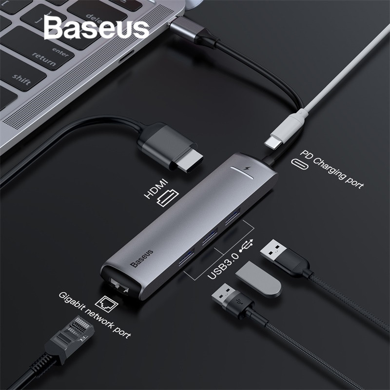 Baseus 6in1 adaptador de HUB de USB tipo C a USB 3,0 HDMI RJ45 para MacBook Pro HUB USB divisor para Huawei matebook accesorio de computadora