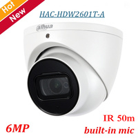 6MP Dahua Outdoor Indoor HDCVI Camera HAC HDW2601T A Smart IR 50m Max 6MP resolution Audio in interface built in Mic IP67