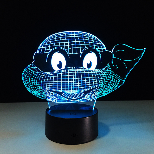 7 Colors Changing Turtle Night Light Lamps 3D Touch Nightlight Kids Teenage  Mutant Ninja Turtles