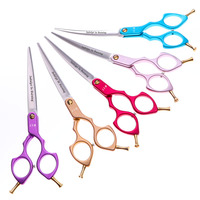 6.5 Inch Hairdressing Scissors Professional Salon Barber Hair Cutting Scissors Pet Grooming Shears Curved Upward 5 Colors