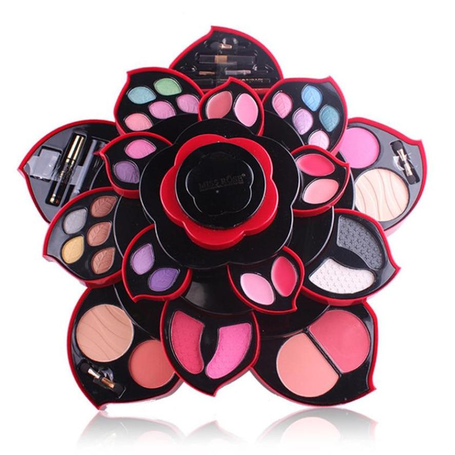 Ensemble de maquillage pour femme MISS ROSE 1 ensemble Palette de fard à paupières 23 couleurs Palette de luxe doré Nude boîte rotative poudre de fard à joues cosmétique
