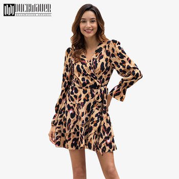 b5fad887b1b Duckwaver женское леопардовое платье трапециевидной формы с бантом на  завязке с v-образным вырезом Короткое платье Дамское элегантные расширяю.