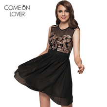 RE7864 Comeonlover Sequined printed off shoulder skater dress younger mesh  summer black dress party chiffon big size dresses 48dc18883dea