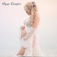 Lace Maternity Fotografia Robe Shoulderless Maxi Gown Dress Ruffles High Split Front Pregnant Photo Shoot Women