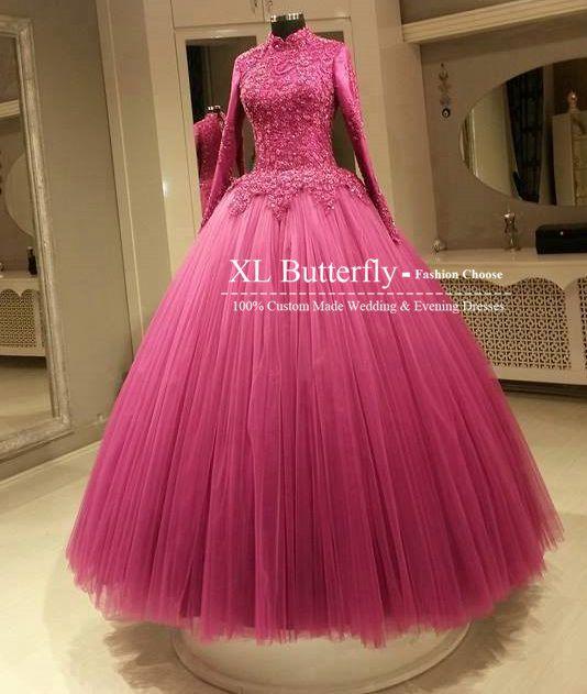 High Quality Vestido De Noiva High Neck Elegant Lace Applique Red