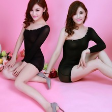 Fashion Sexy Lingerie Lace Black Rose Red Sexy Sling Jacquard Long Sleeve Skirt Costume Shoulder Women Sex Products Hot Gifts