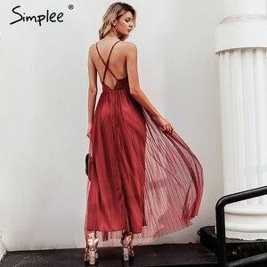 Image 3 - Simplee vestido de renda rosa feminino, malha, elegante, decote em v, para noite, maxi, para outono, inverno, sexy, longo, vestido de festa festa
