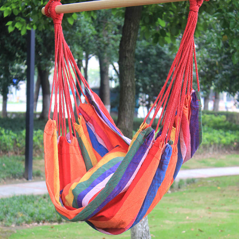 Cool Canvas Hang Hammock Chair Porch Swing Seat Wood Rope Camping Rocking Chair Garden Furniture Leasure Pitio Swing With Cushion Bralicious Painted Fabric Chair Ideas Braliciousco