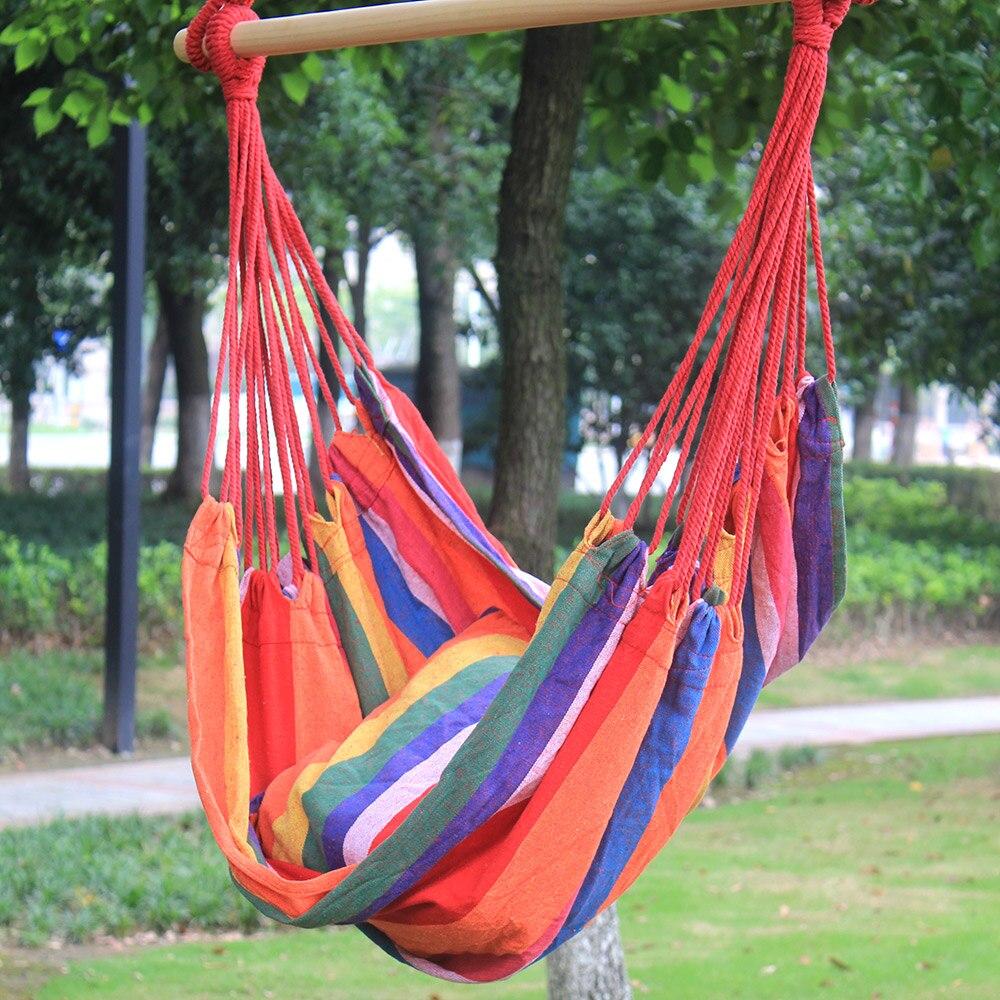 Toile accrocher hamac chaise porche balançoire siège bois corde Camping chaise à bascule meubles de jardin loisirs Pitio balançoire avec coussin