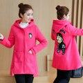 Плюс Бархат Зимой Беременных Женщин Мода Для Беременных Пальто Одежда Блудниц Хлопка-ватник С Капюшоном Зимняя Куртка B484