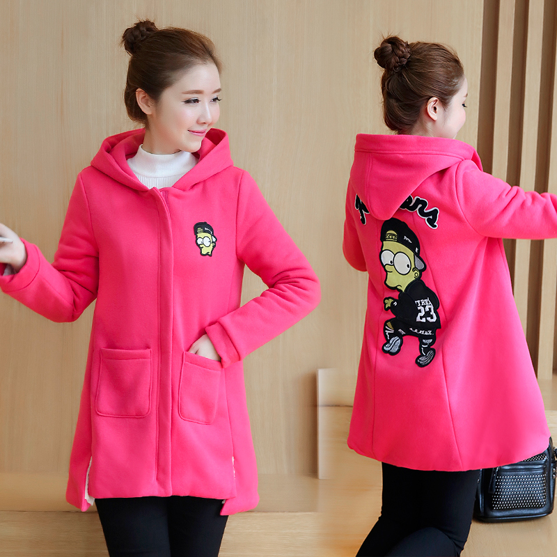 Plus Velvet Winter Pregnant Women Fashion Maternity Coat Clothes Loose Women Cotton-padded Jacket Hooded Winter Jacket B484 maternity clothes new stely fashion loose pure color cloak jacket clothes for pregnant women coat