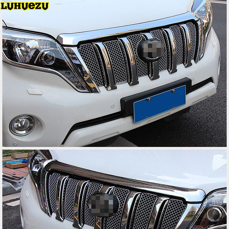Luhuezu Stainless Steel Front Grille Trims For Toyota Land Cruiser Prado LC150 Accessories 2010-2017 luhuezu wooden color automatic transmission gear shift knob for toyota land cruiser prado lc150 2010 2017 accessories