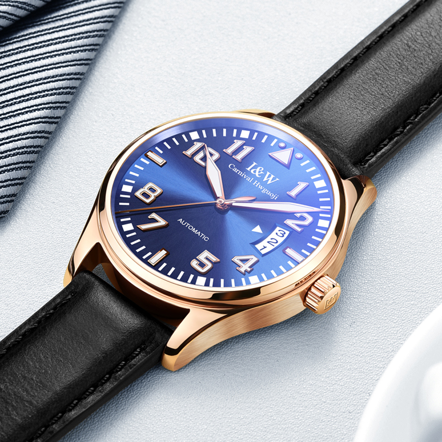 Karneval männer Klassische Leucht Serie Mechanische Uhren Wasserdicht Echtem Leder Marke Luxus uhr Männer Relogio Masculino-in Mechanische Uhren aus Uhren bei  Gruppe 1