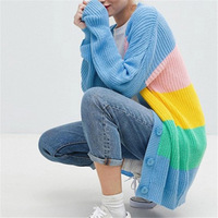 2018 winter Autumn long cardigan female slim women knitted sweater rainbow color loose outwear Casual Cardigans Jumpers