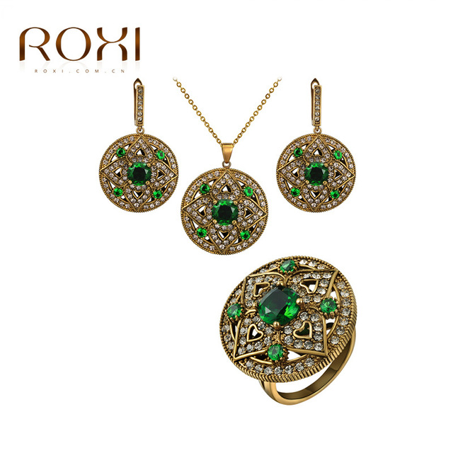 2016 New Gift ROXI Vintage Jewelry Set Women Ancient Gold Plated Retro Green CZ Wedding Jewelry Sets For Women Party