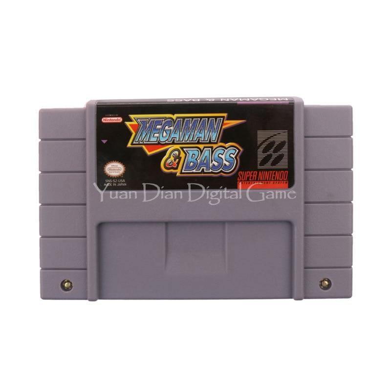 Nintendo SFC SNES Video Game Cartridge Console Card Mega Man Bass USA English Language Version