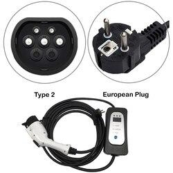Caricabatteria per auto elettriche di Tipo 2 della parete di UE presa Schuko uso Domestico EV cavo di ricarica AC 16A di corrente regolabile