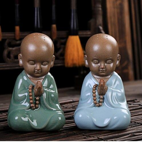 Meravigliosa OPERA DARTE # UFFICIO casa Zen Buddismo Piccolo Monaco CINA ROYAL Ge Yao RU YAO ware porcellana ceramica ART-regalo di affariMeravigliosa OPERA DARTE # UFFICIO casa Zen Buddismo Piccolo Monaco CINA ROYAL Ge Yao RU YAO ware porcellana ceramica ART-regalo di affari