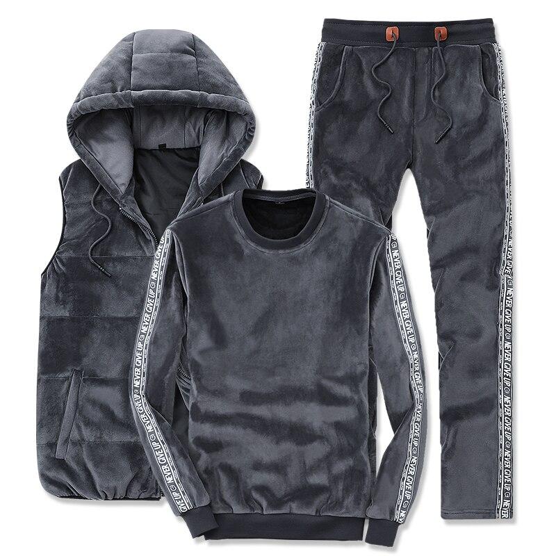 Plus Size M-4XL Gold Velvet 3 Piece Set Sportswear Men Suit Set Side Letters Stripes Men Sports Suit Hooded Vest Tracksuit Pants