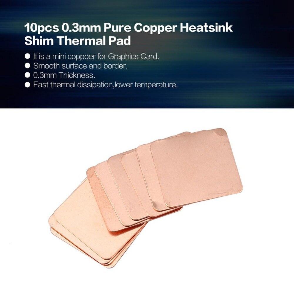 10 Stücke Reinem Kupfer Kühlkörper Shim Thermische Pad Barriere Für Laptop Grafikkarte 20mm X 20mm 0,3mm 0,5mm 0,8mm 1,0mm 1,2mm