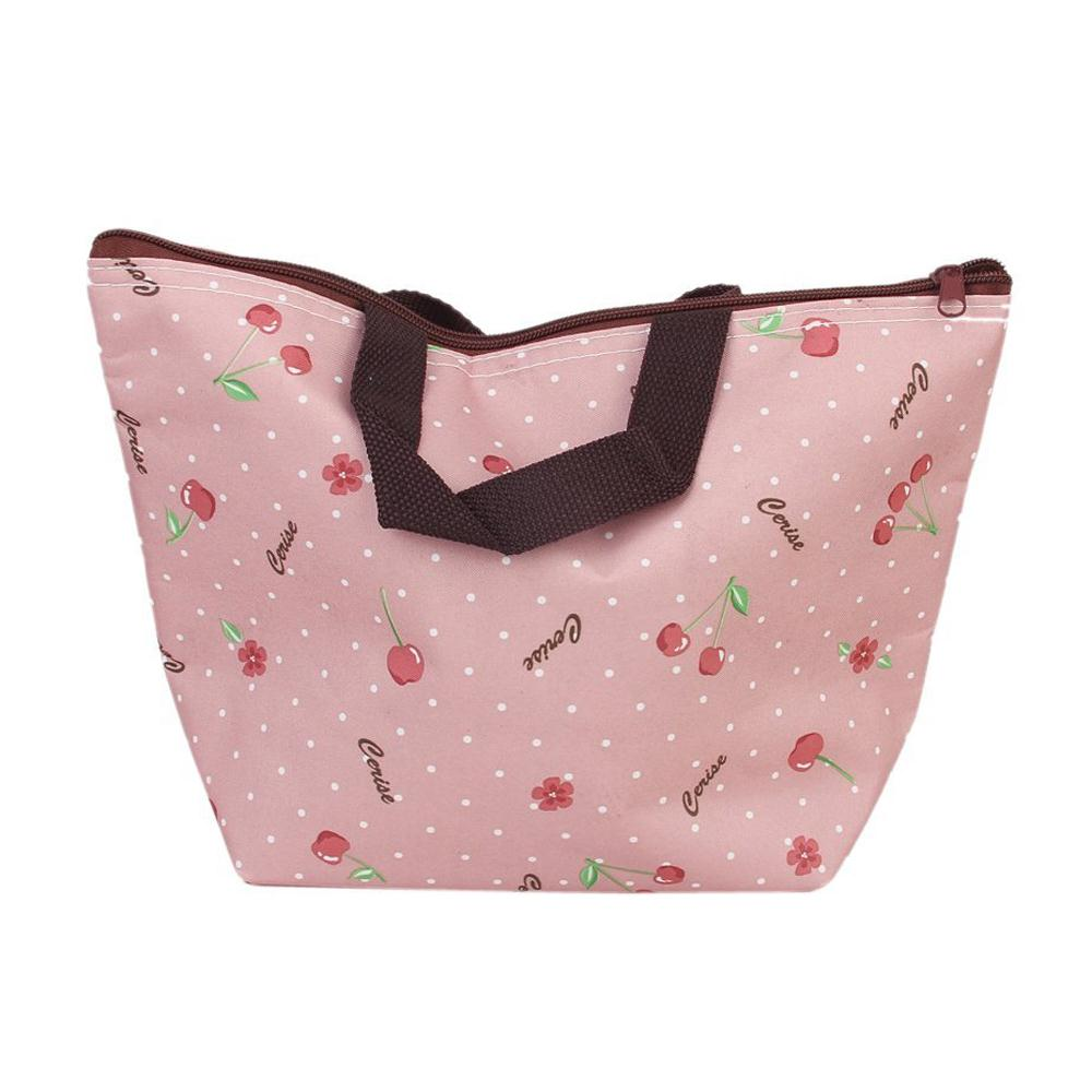 NEWBRAND Lunch Box Bag Tote Insulated Cooler Carry Bag for Travel Picnic - Cherry Pattern