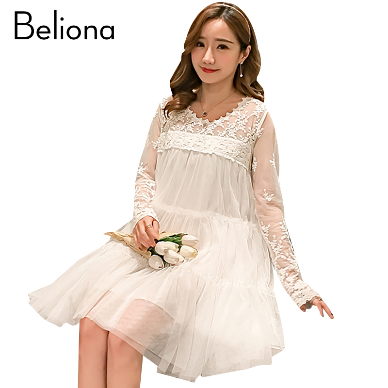 White Lace Maternity Dress Formal Pregnancy Clothes Long Sleeve Pregnancy Clothing Of Pregnant Women Spring 2018 Premama