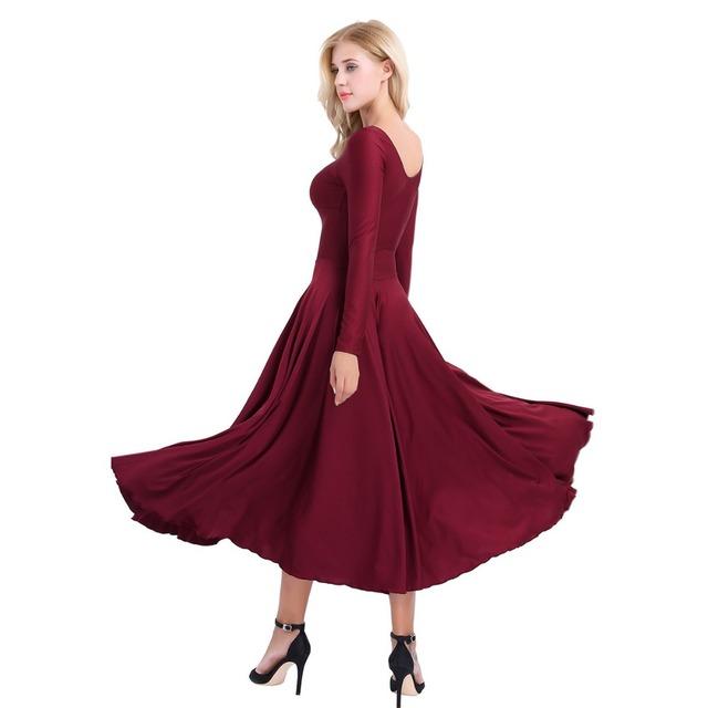 Long Sleeves Loose Fit Liturgical Praise Professional Gymnastics Leotard Ballet Tutu Dancing Dress
