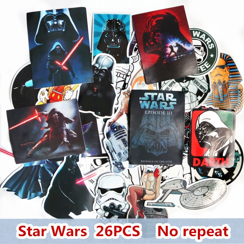 26PCS Star Wars Sticker For Skateboard Laptop Luggage Car Styling Waterproof Decal Home Decor Toy Creative Cool Sticker