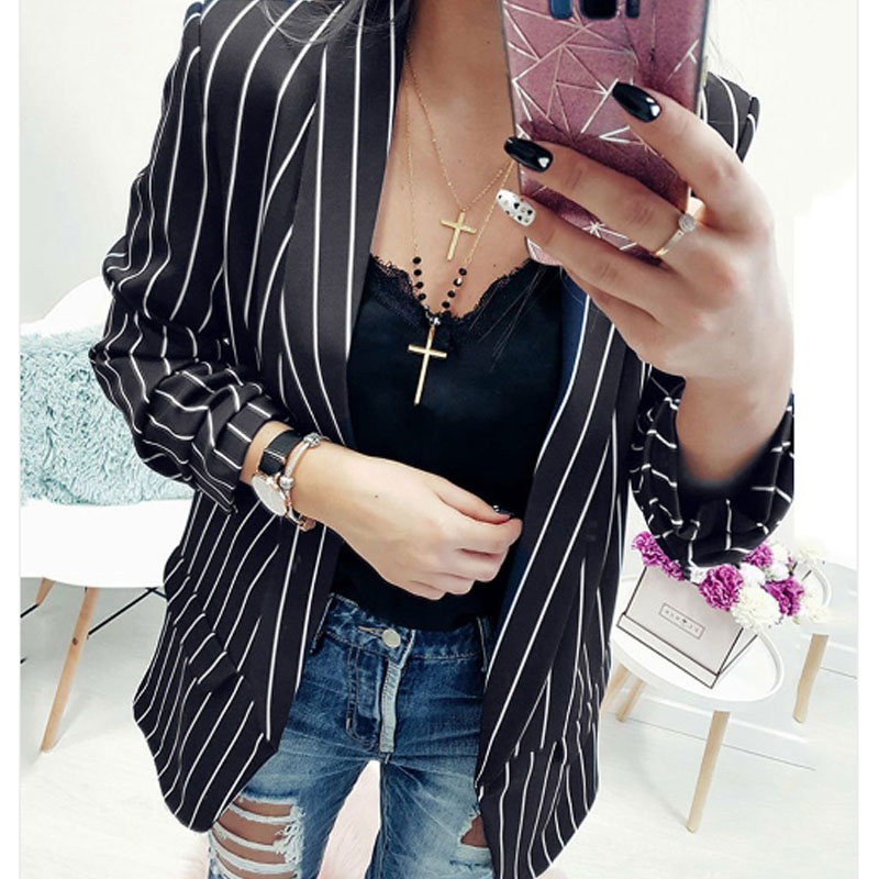 Autumn Formal Cuff Folds Woman's Black White Striped Outwear Casual Slim Jackets Office Lady Coats Blazer Coat Spring Fall