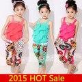 2016 NOVO conjunto de roupas Crianças Novo regata meninas com bowknot metálico + floral calças impressão meninas crianças terno de verão conjunto