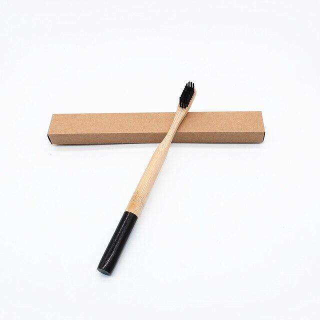 Al por mayor 10 piezas cepillo de dientes de bambú Natural cerdas cepillo dientes limpieza higiene Oral cuidado Dental negro redondo manija