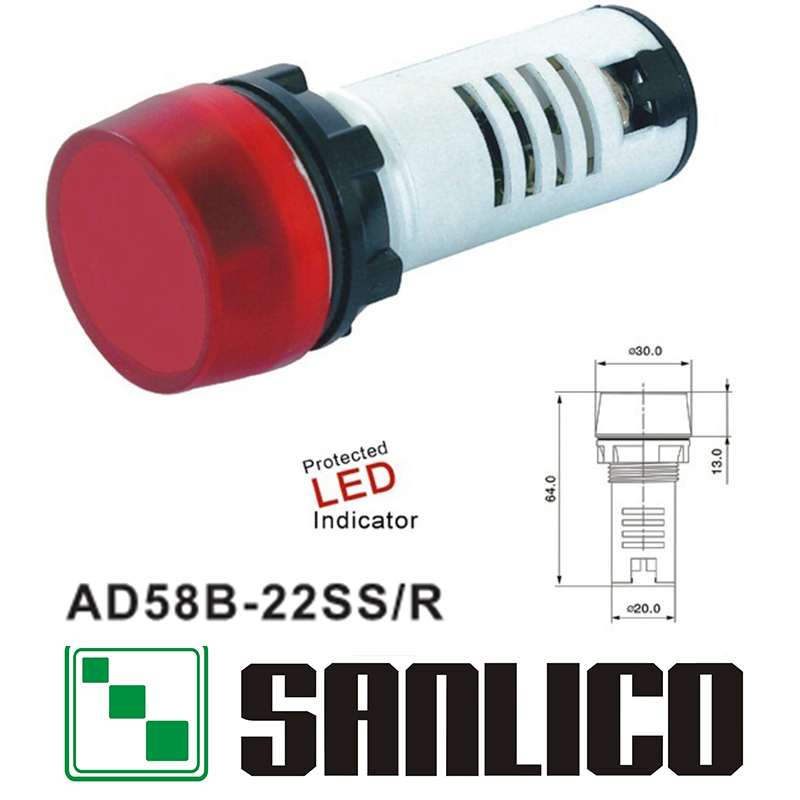 flashing pilot lamp indicator light AD58B(AD16 AD22 AD11 AD17)-22SS/R with LED mounting diameter 22mm