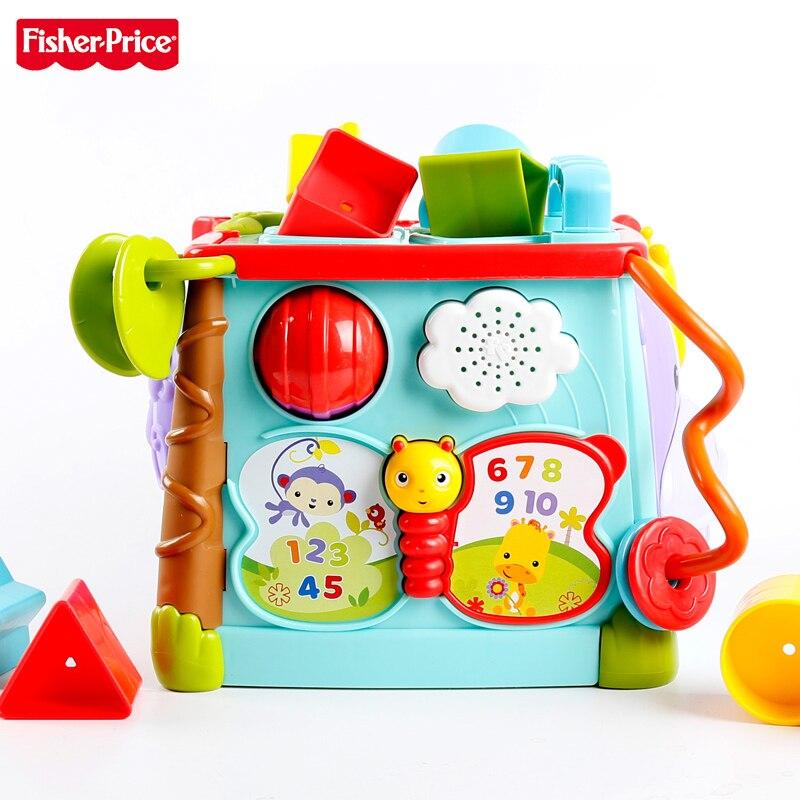 Fisher-price Original marque bébé apprentissage jouet jeu & apprentissage activité Cube occupé boîte homme utiliser 6 côtés enfant drôle jouets packet 28 pour enfant